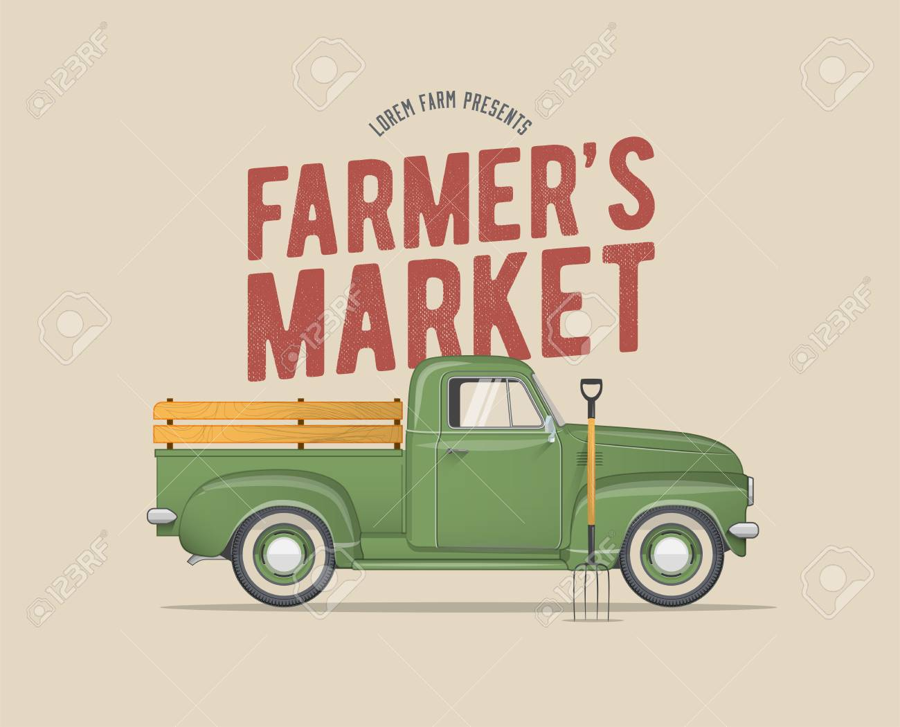 Farmer's Market Themed Vintage styled Vector Illustration of...