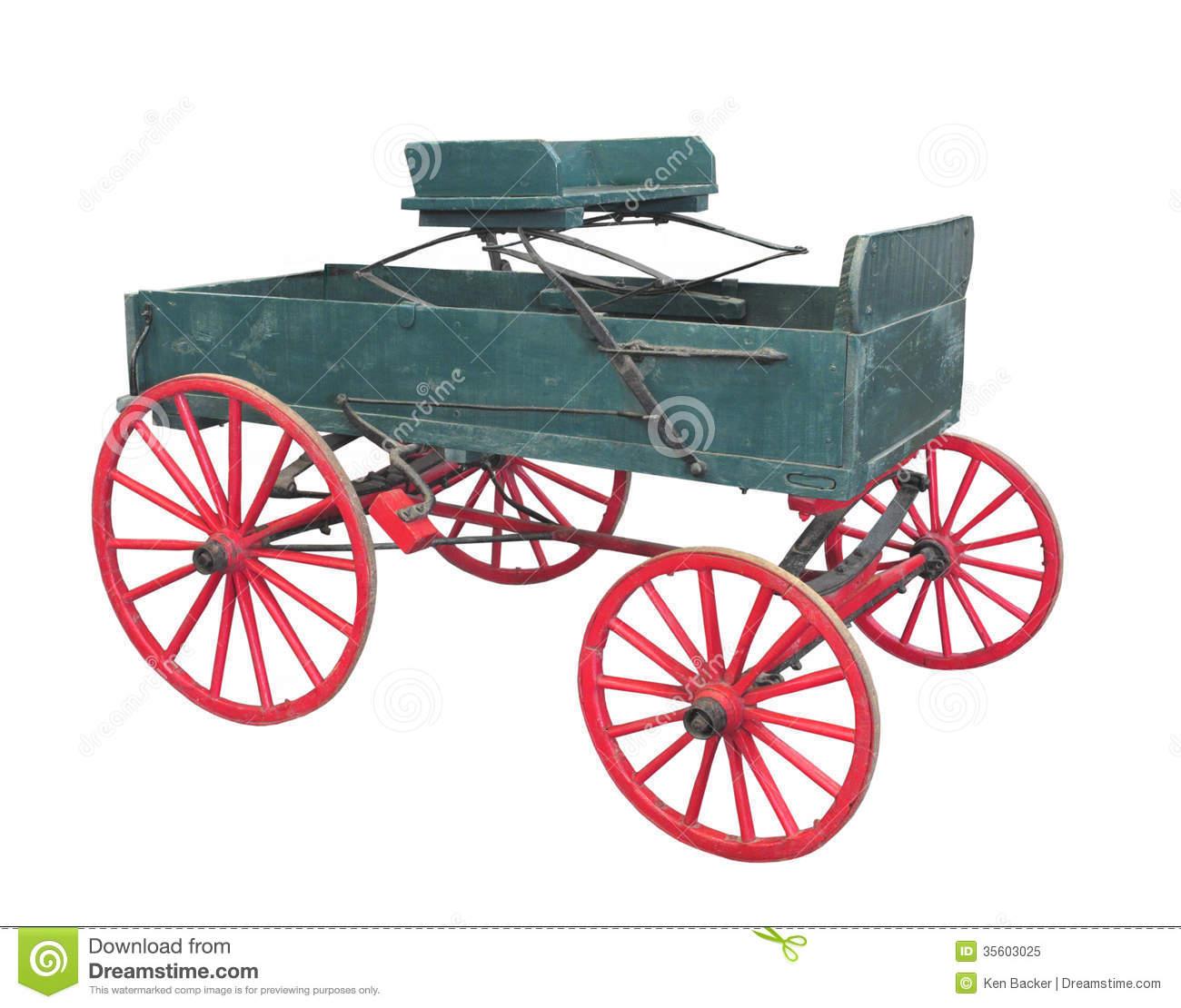Old Farm Wagon Buckboard Isolated. Royalty Free Stock Photo.