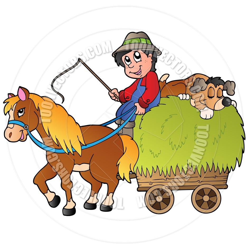 Tractor Hayride with Children Clip Art (B&W) - Fall ... |Hayride Wagon Clipart