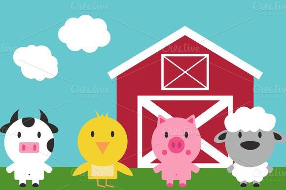 Farm animal birthday clipart.