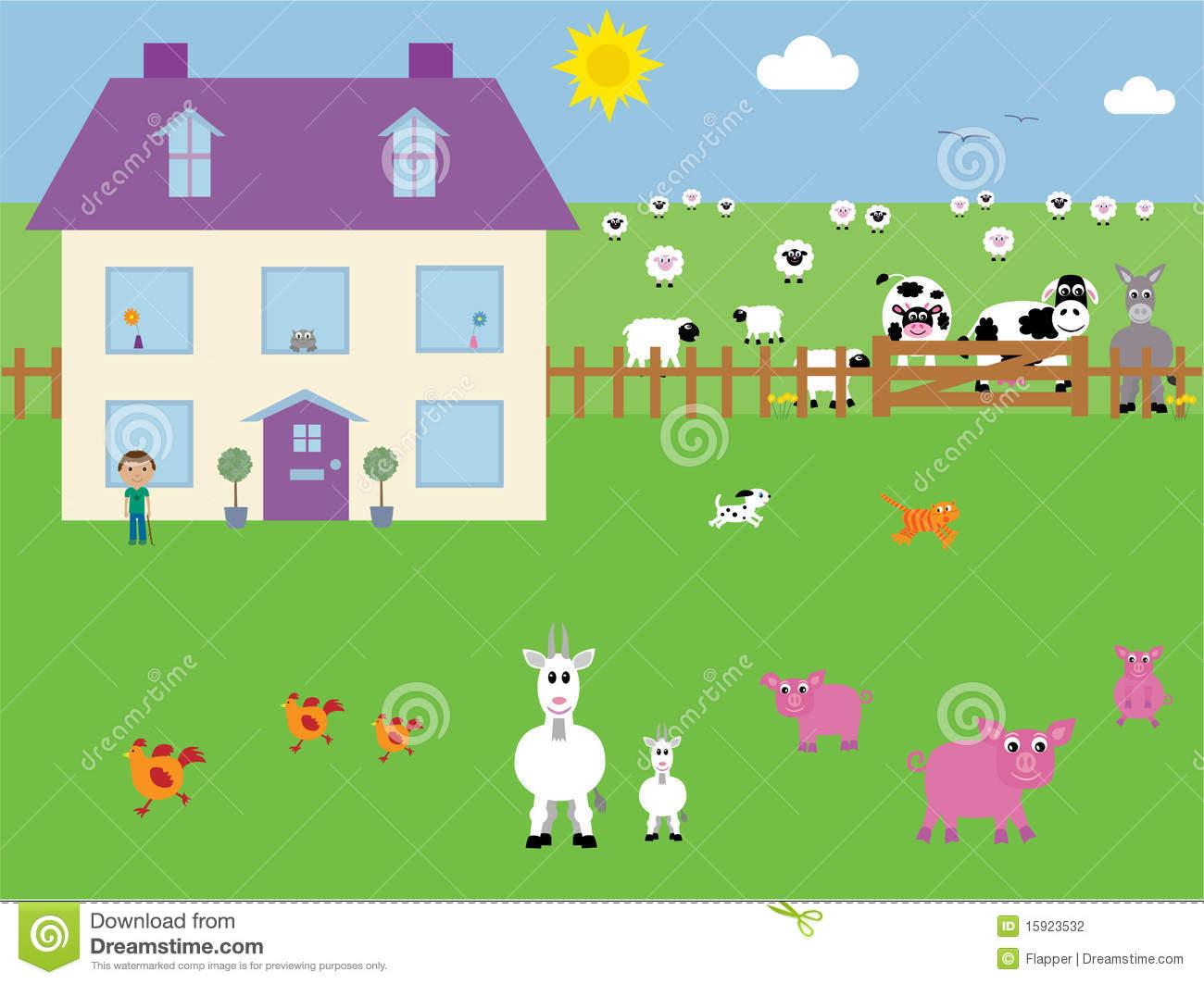 Farmyard Vector Illustration Stock Photography.