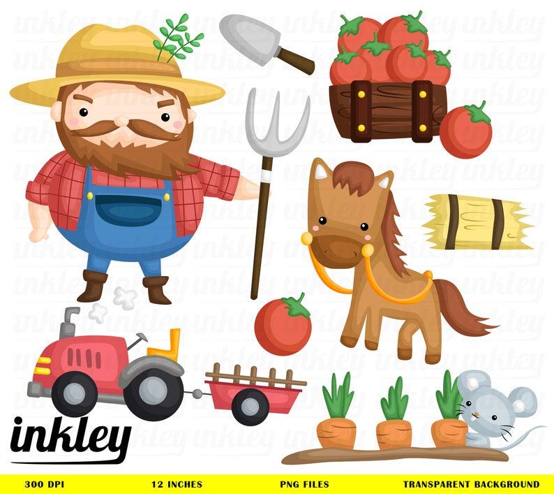 Farmer Clipart, Farmer Clip Art, Farmer Png, Horse Clipart, Cute Animal  Clipart, Tomato Clipart, Vegetable Clipart, Farm Animal Clipart.