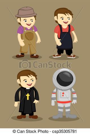 Vector of Farmer Kitchen Helper Priest Astronaut Vector.