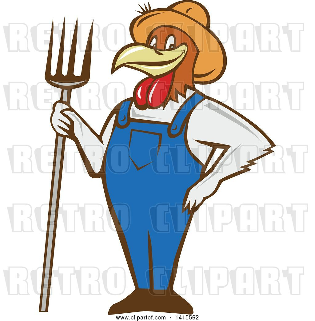 Vector Clip Art of Retro Cartoon Farmer Rooster Chicken Guy.