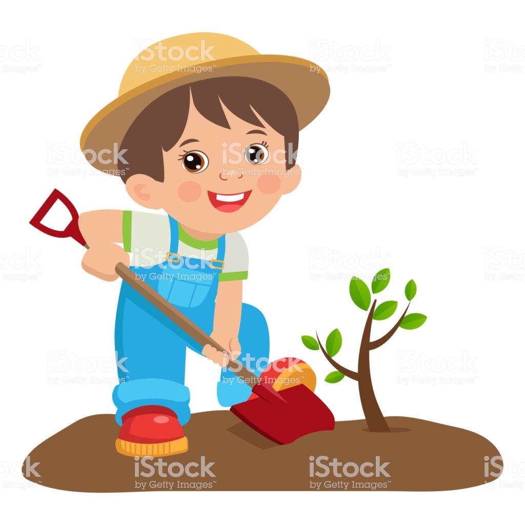 Growing Young Gardener Cute Cartoon Boy With Shovel Young Farmer.