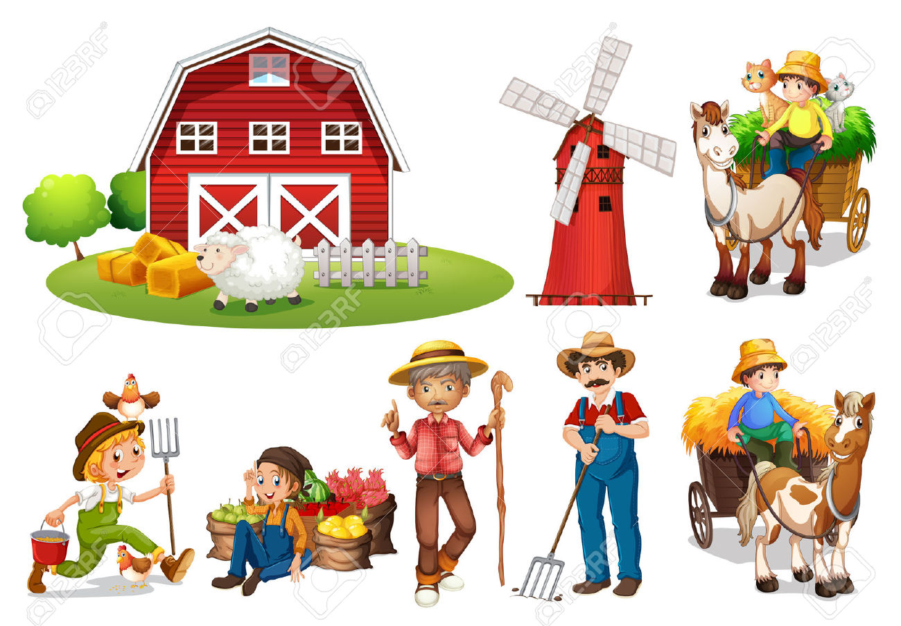 Illustration Of A Set Of Farmers And A Barn Royalty Free Cliparts.