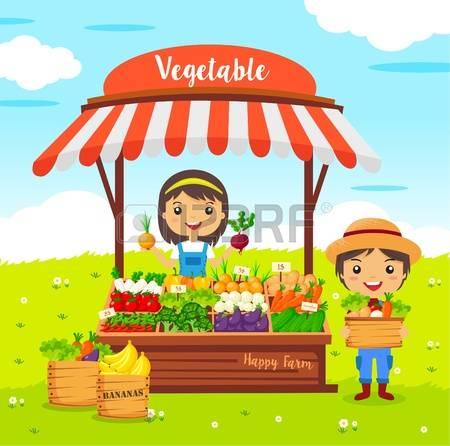 Vegetables Shop Stall, Farmers Market, Cartoon Characters Vector.