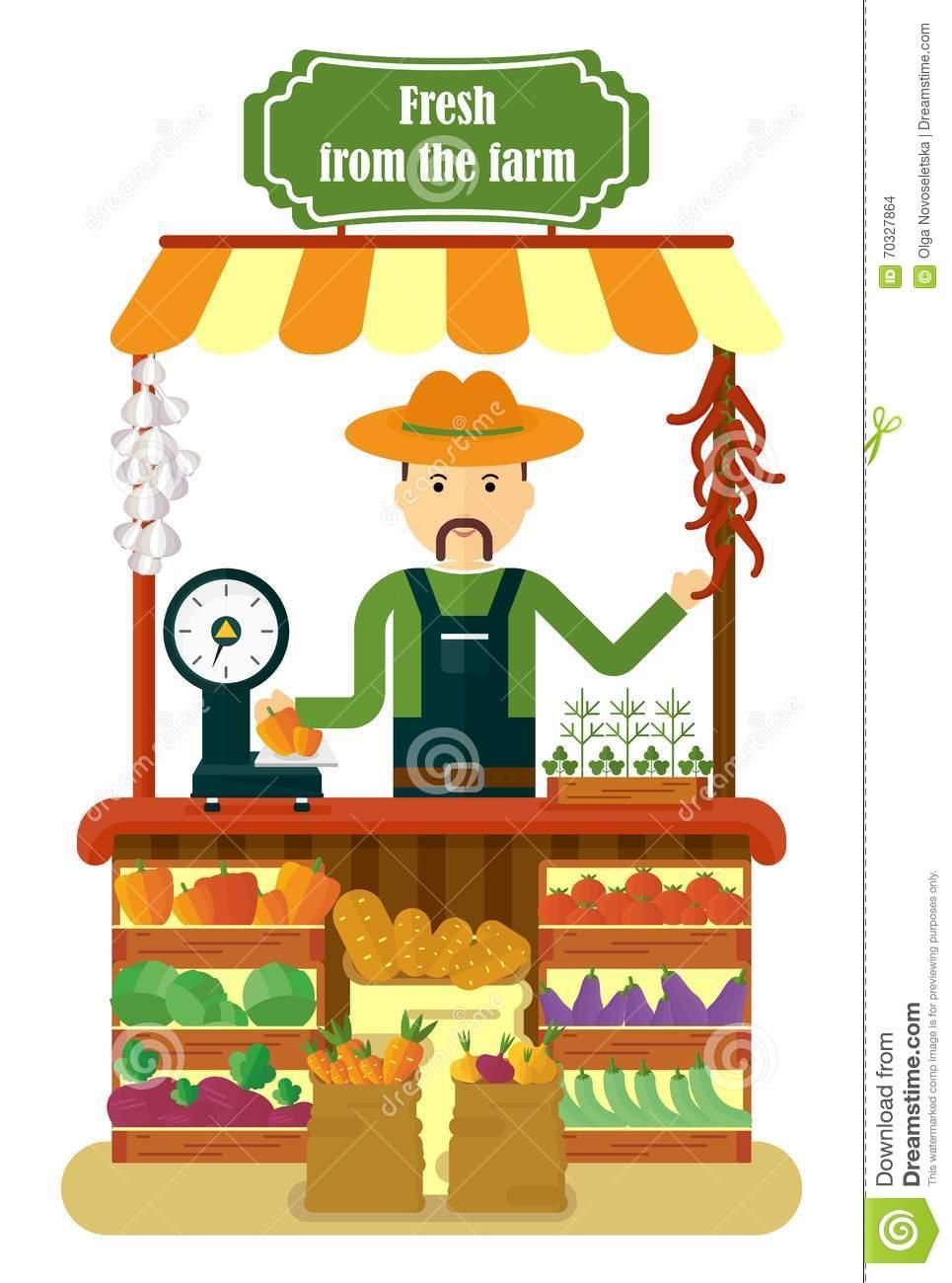 Local Market Farmer Selling Vegetables Produce Stock Vector.