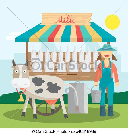Vector of Farmer selling milk products in local market. Woman.