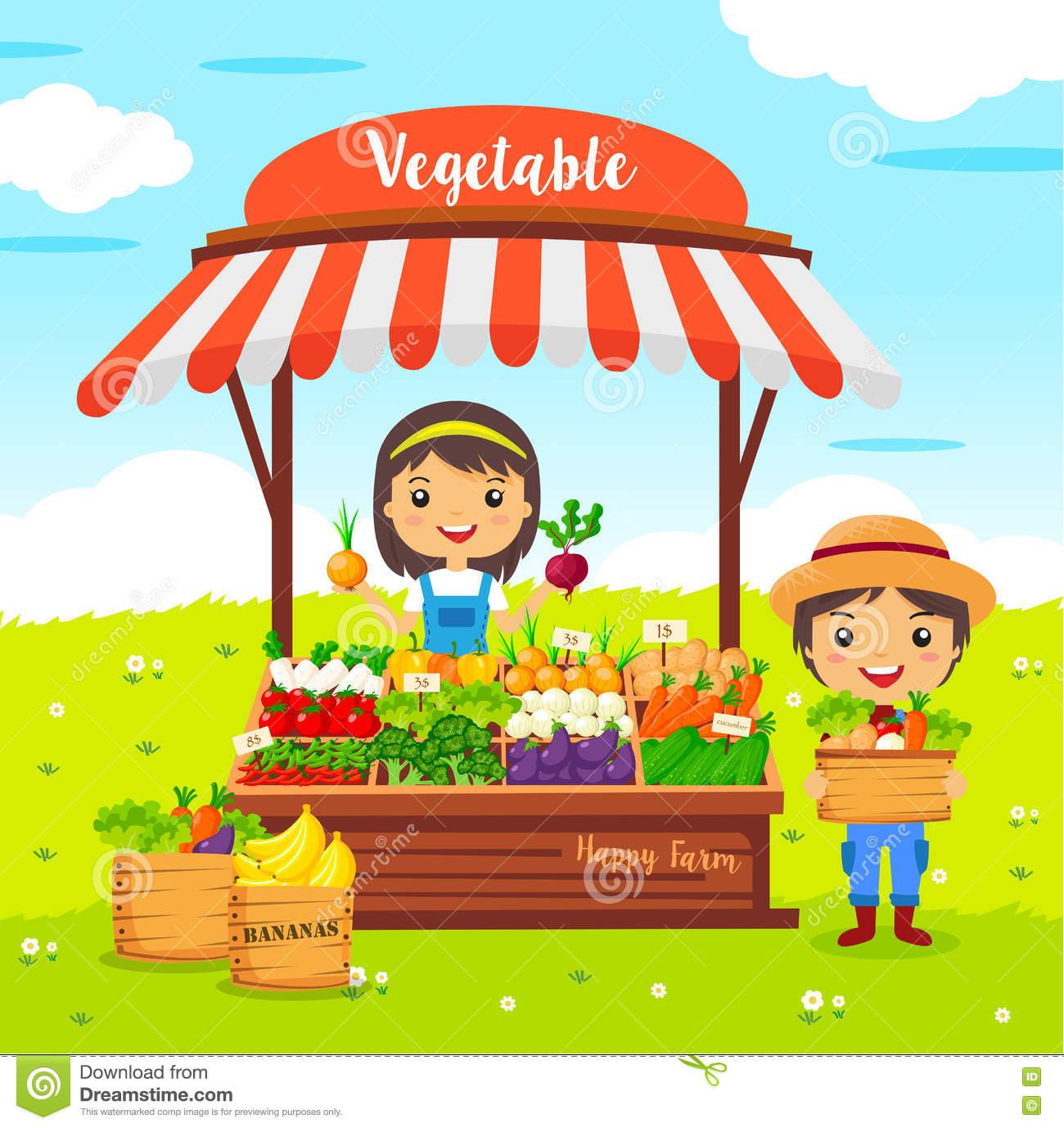 Local Market Farmer Vegetables Shop Stock Vector.
