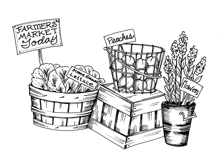 Farmers market clipart black and white.