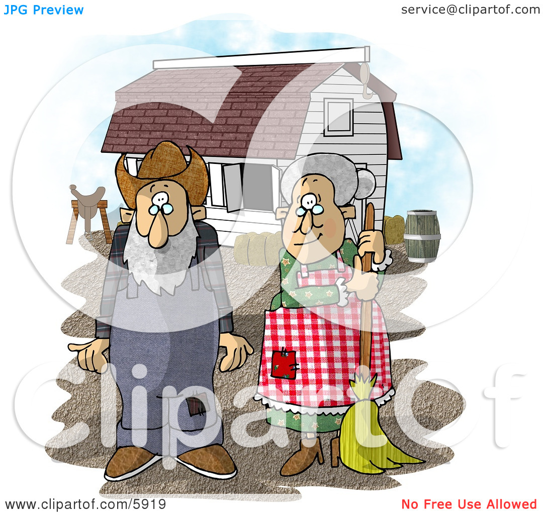 Farmer Wife and Husband Standing In Front of a Barn Clipart.