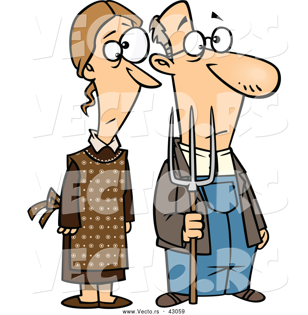 Vector of a Cartoon Gothic Farmer Husband and Wife Standing Side.