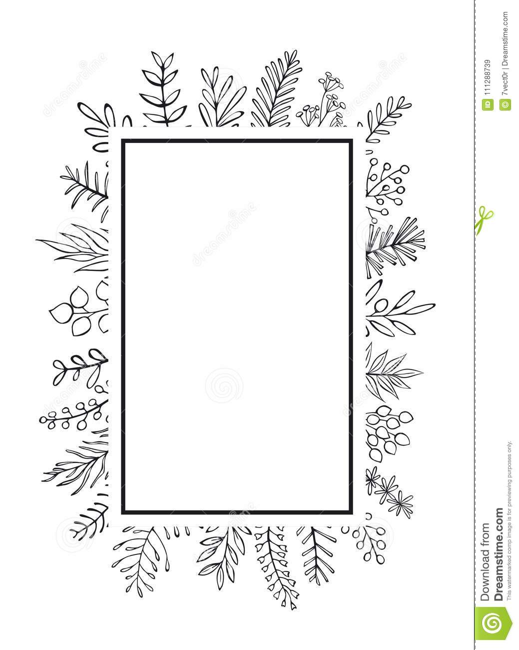 Floral Hand Drawn Farmhouse Style Outlined Twigs Branches Frame.
