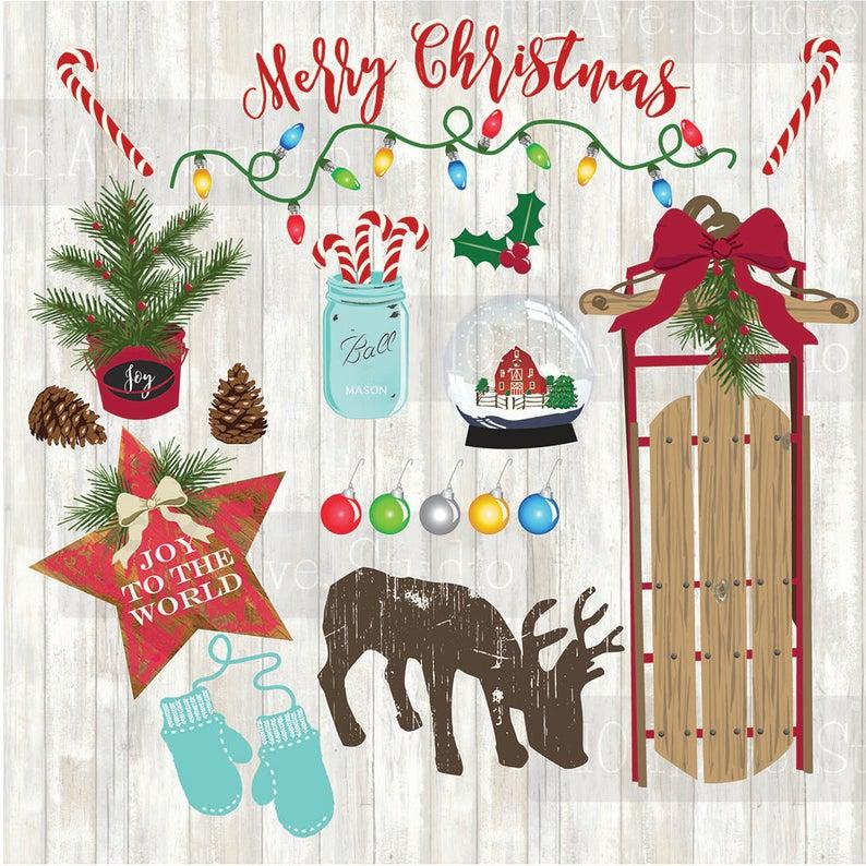 Farmhouse Christmas Vector Graphics Clipart Collection.