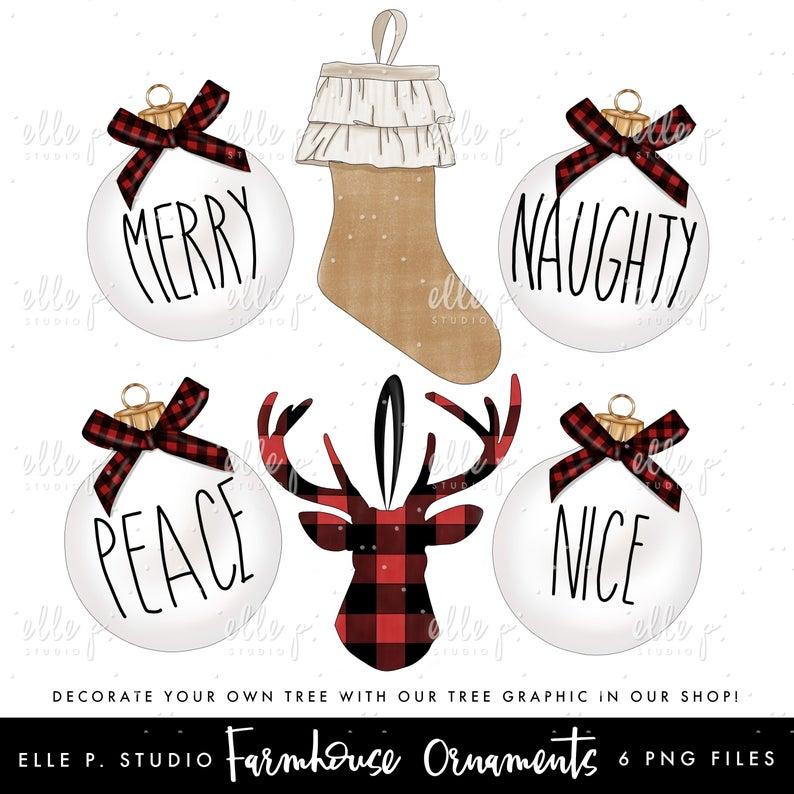 Farmhouse Christmas Ornaments Bundle /Holiday Clipart Bundle.