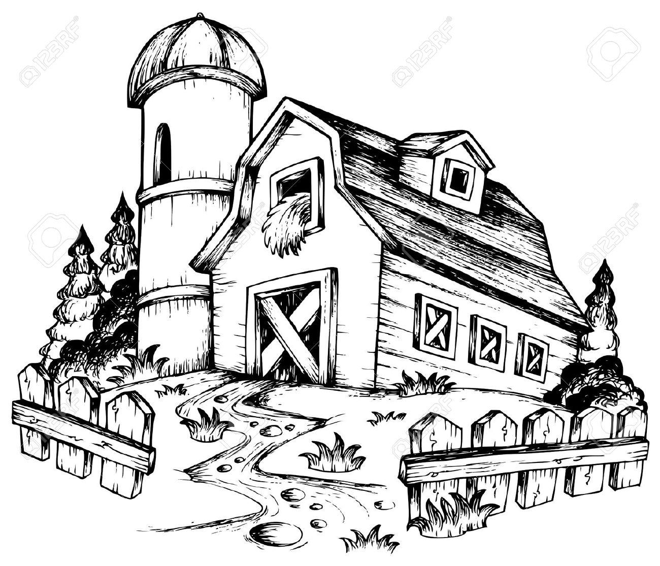 Farmhouse Clipart Black And White