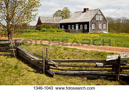 Stock Photo of Houses in a field, Ross Farm Museum, New Ross, Nova.