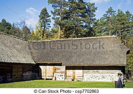 Stock Photos of Farmhouse with straw roof.