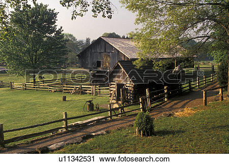 Stock Photography of farm, Norris, TN, Tennessee, Buildings on the.