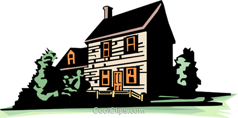 Farmhouse Royalty Free Vector Clip Art illustration.