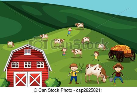 Vector Clip Art of Farmland.