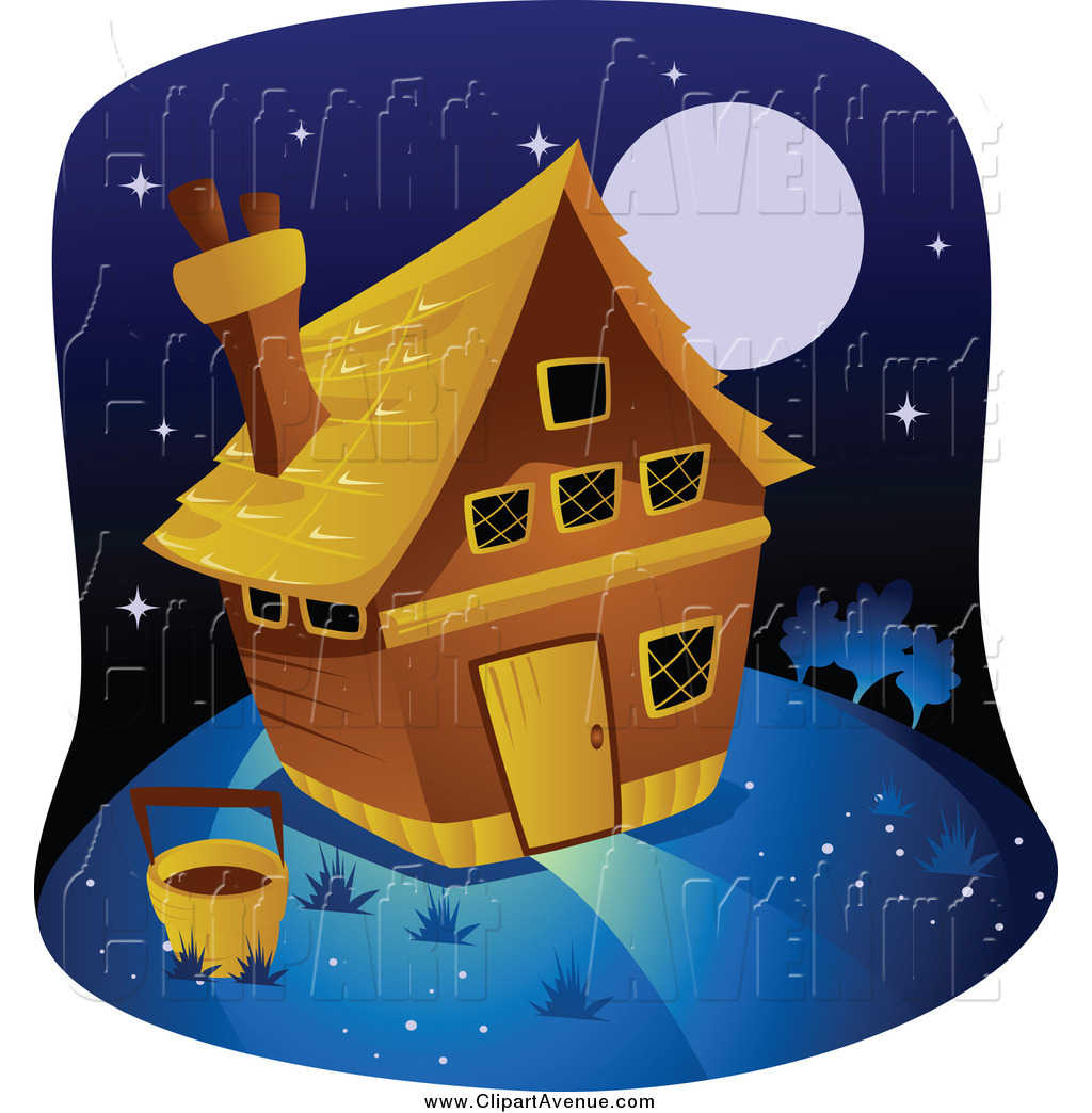 Avenue Clipart of a Farm House at Night by BNP Design Studio.
