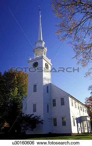 Stock Images of white church, Connecticut, Farmington, CT, First.
