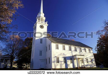 Stock Photo of white church, Connecticut, Farmington, CT, First.