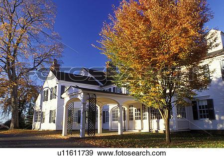 Stock Photograph of Farmington, Connecticut, CT, A Colonial.