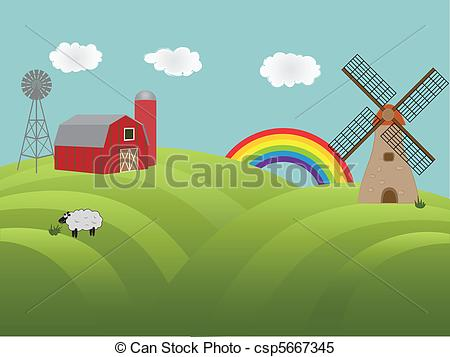 Clipart Vector of Farmland with green hills.