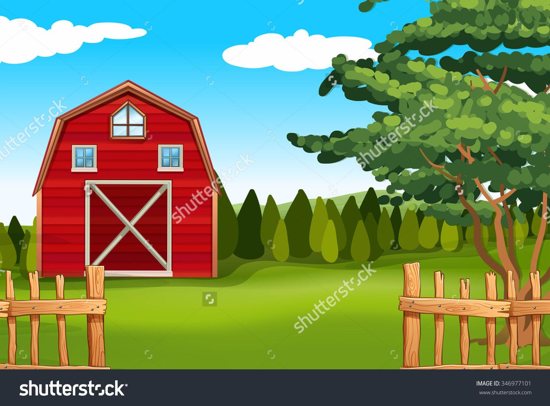 Farmland Barn On Field Illustration Stock Vector 346977101.