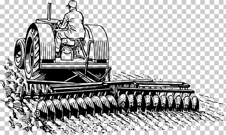 Drawing Harrow Tractor , farmland PNG clipart.