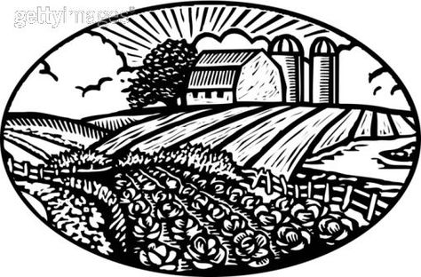 Oval scene of vegetable garden with barn and silo in the.