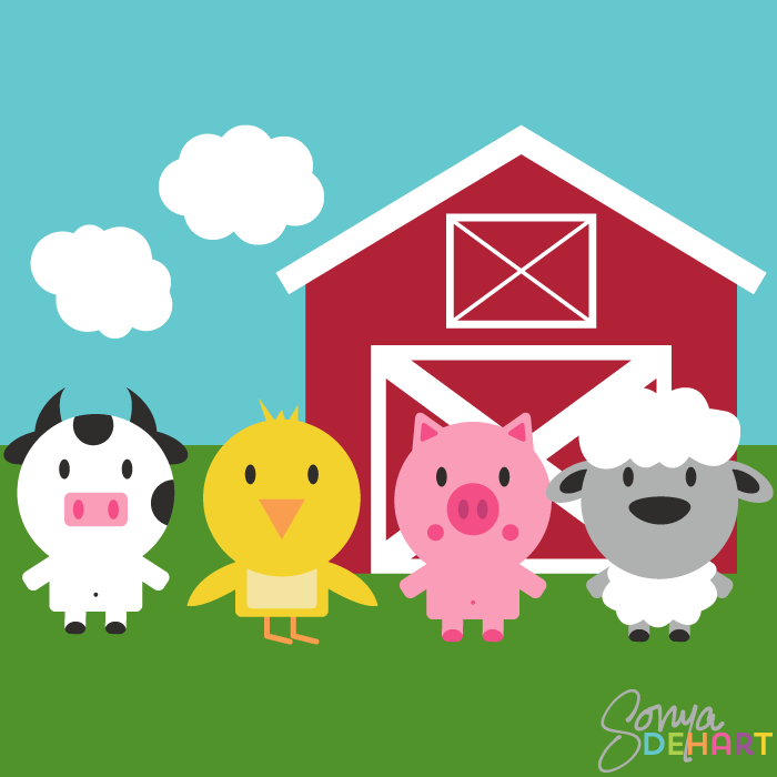 Clip art of farm.