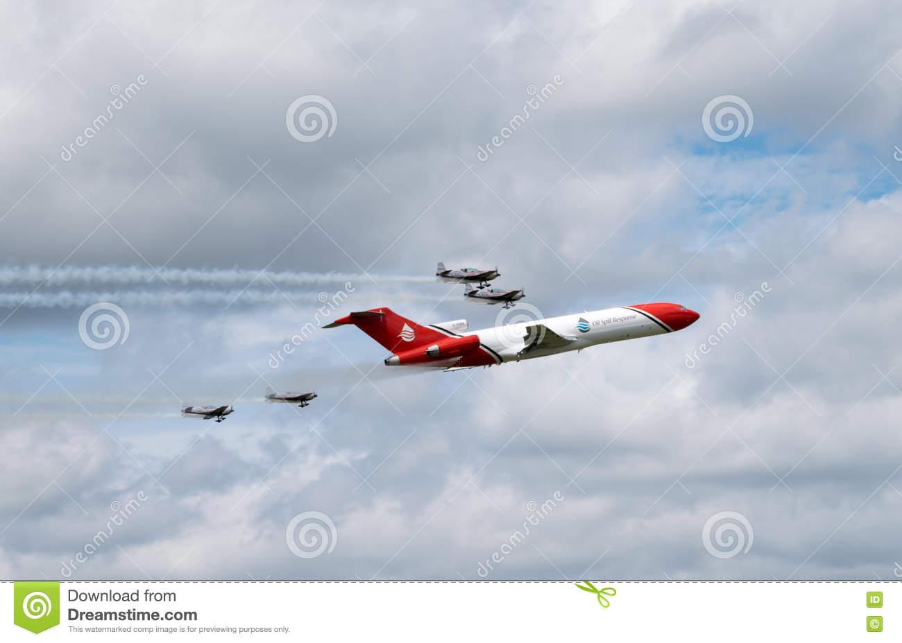 Boeing 727 Oil Response Plane At Farnborough Airshow 2016.