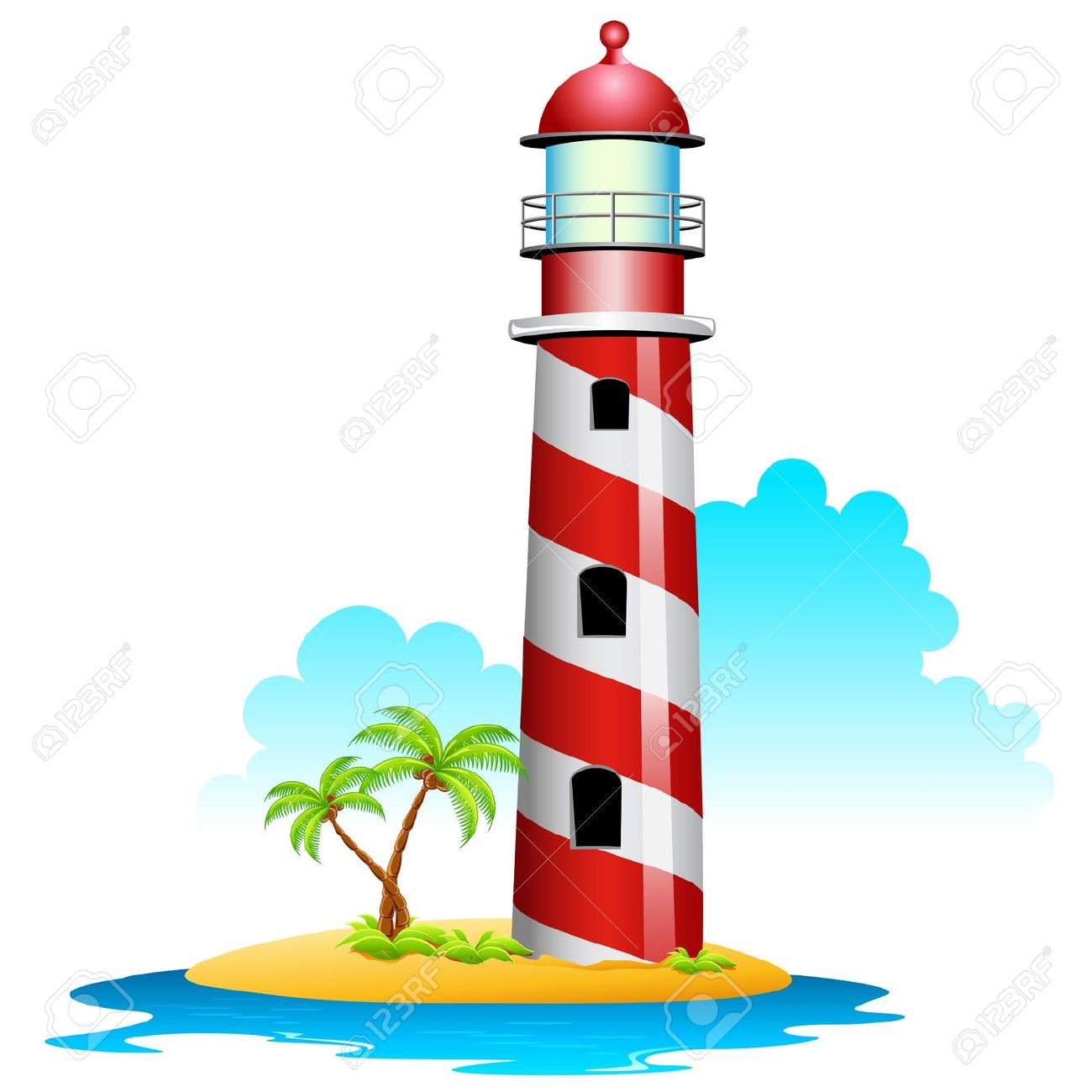 Illustration Of Lighthouse With Palm Tree On Island Royalty Free.