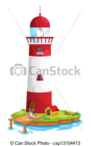 Vector Clip Art of A dog in the lighthouse.