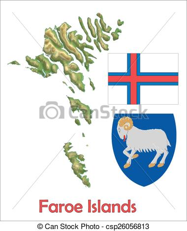 Vector Clip Art of Faroe Islands map flag coat.