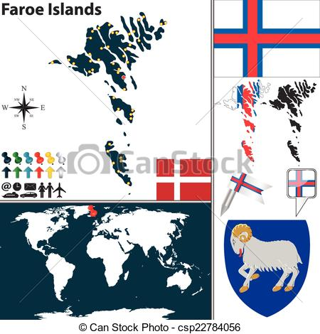 Clipart Vector of Map of Faroe Islands.