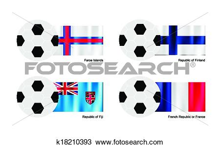 Clipart of Soccer Ball with Faroe Islands, Finland, Fiji and.