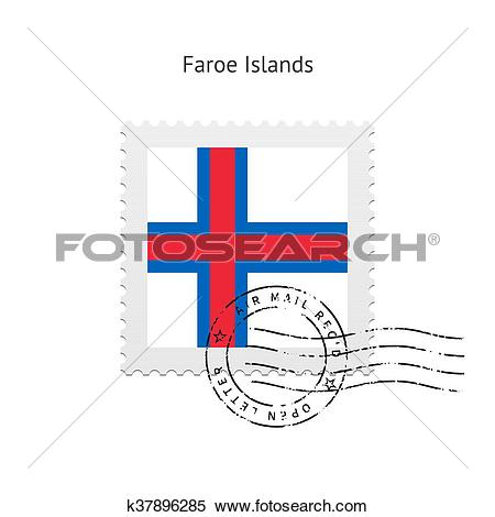 Clipart of Faroe Islands Flag Postage Stamp. k37896285.