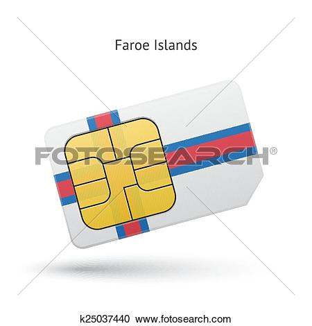 Clipart of Faroe Islands mobile phone sim card with flag.