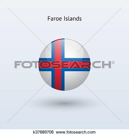 Clip Art of Faroe Islands round flag. Vector illustration.