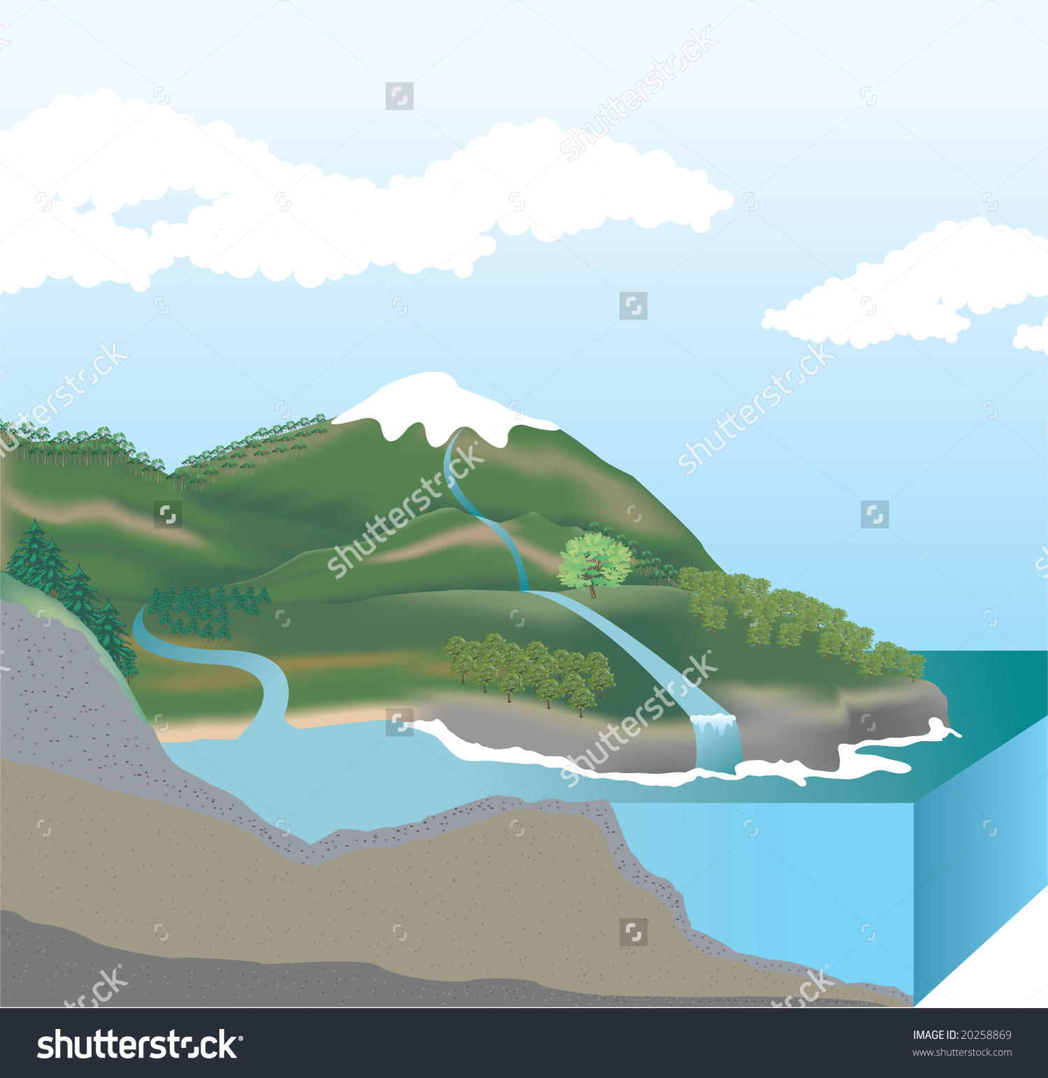 Mountain Cutaway Cross Section Stock Illustration 20258869.