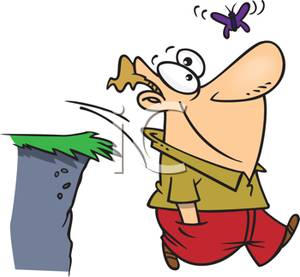 Colorful Cartoon of a Man Mesmerized By a Butterfly Walking Off a.