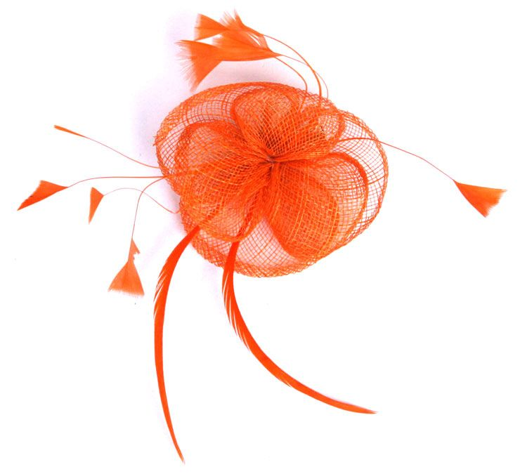Orange Flower Sinamay Fascinator with Feathers. $26AUD.