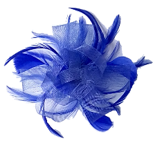 Blue loop & Feather Net Fascinator on Comb.
