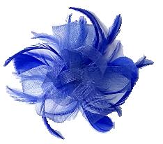 Blue loop & Feather Net Fascinator on Comb.