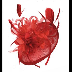 Scarlet Red Sinamay Hoop Fascinator for Weddings on Headband.